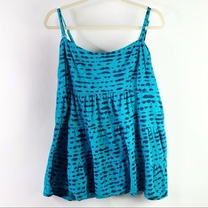 Torrid Twist Tees Teal Ruched Babydoll Cami Size 3